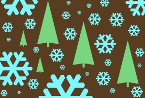 graphic snowflakes and trees
